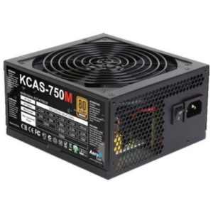 Power Supply Aerocool KCAS-750M, 750W, ATX, APFC, 20+4 pin, 4+4pin, 7*Sata, 4*Molex, 1*FDD, 4*PCI-E 6+2 pin, поддержка Haswell, вентилятор 14 см, кабе
